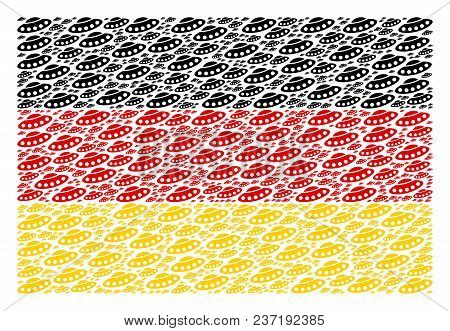 German Flag Collage Made Of Ufo Elements. Vector Ufo Items Are United Into Geometric German Flag Col