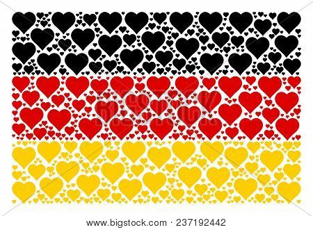German Flag Concept Designed Of Valentine Heart Pictograms. Vector Valentine Heart Items Are United