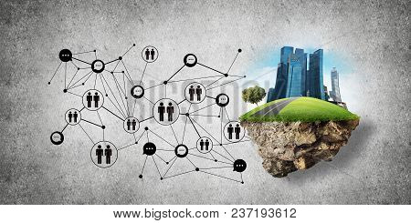 Concept Of Social Communication In The City By Means Of Flying Island With Modern Buildings And Soci