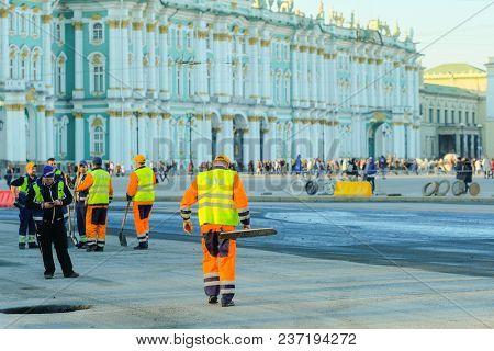 St. Petersburg, Russia - April, 15, 2018: roadwork in St. Petersburg on Dvortsovaya square