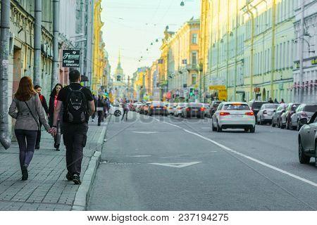 St. Petersburg, Russia - April, 16, 2018: crowd of pedestrians in the centre of St. Petersburg, Russia