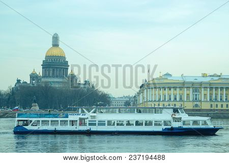 St. Petersburg, Russia - April, 17, 2018: city scape with the image of boat on Neva river in St. Petersburg