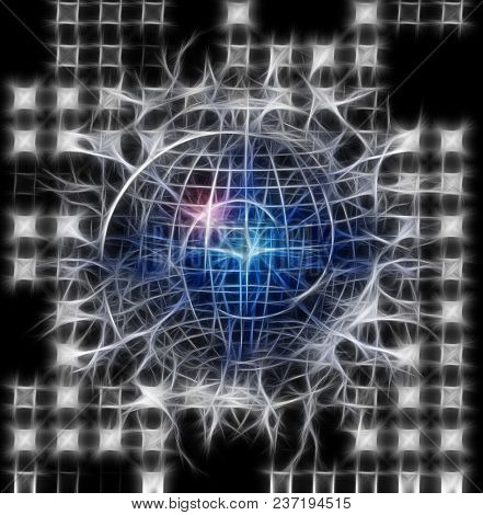 Spiral of time enclosed in crystal sphere. 3D rendering