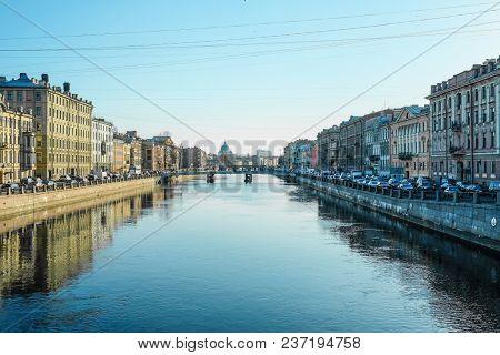 St. Petersburg, Russia - April, 17, 2018: Fontanka embankment in St. Petersburg