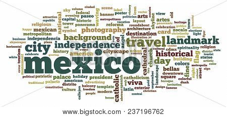 Mexico Word Cloud. Creative Illustration Of Idea Word Lettering Typography . 3d Rendering.