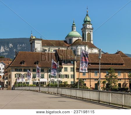 Solothurn, Switzerland - 10 July, 2016: Buildings Of The Historic Part Of The City Of Solothurn Towe