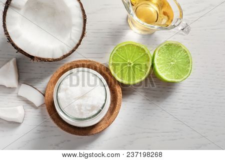 Composition With Natural Coconut Scrub On Table