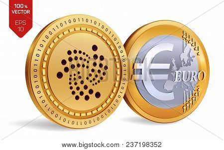Iota. Euro Coin. 3d Isometric Physical Coins. Digital Currency. Cryptocurrency. Golden Coins With Io