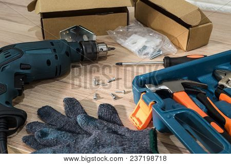 Tool Box With Electric Screwdriver And Equipment