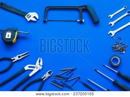 Joinery Tools On Blue Background. Place For The Text. A Concept For Father's Day. Top View.