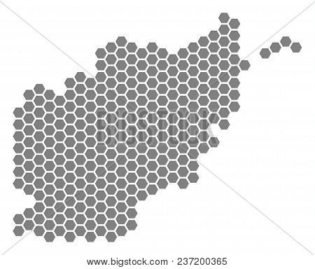 Grey Hexagon Afghanistan Map. Vector Geographic Map In Gray Color On A White Background. Vector Comp