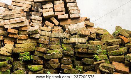 A Collapsed Unused Brik Wall Moss In Pekalongan Indonesia