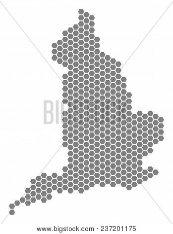 Gray Hexagonal England Map. Vector Geographic Map In Grey Color On A White Background. Vector Compos