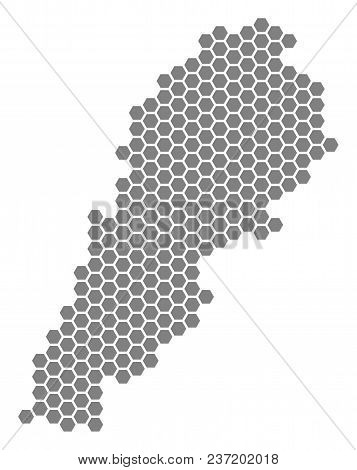 Grey Hexagon Lebanon Map. Vector Geographic Map In Grey Color On A White Background. Vector Mosaic O