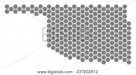 Gray Hexagon Oklahoma State Map. Vector Geographic Map In Grey Color On A White Background. Vector C