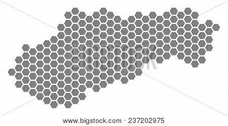 Grey Hexagon Slovakia Map. Vector Geographical Map In Gray Color On A White Background. Vector Patte