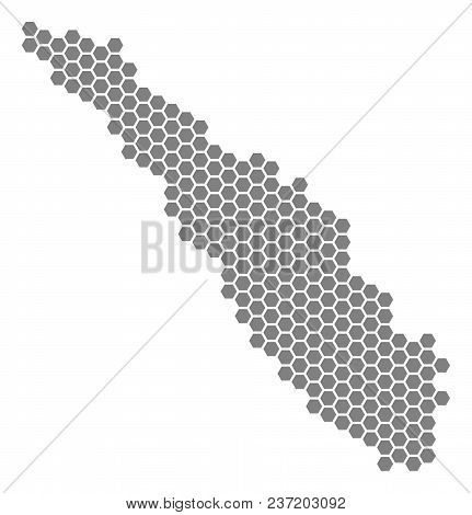 Gray Hexagon Sumatra Island Map. Vector Geographical Map In Gray Color On A White Background. Vector