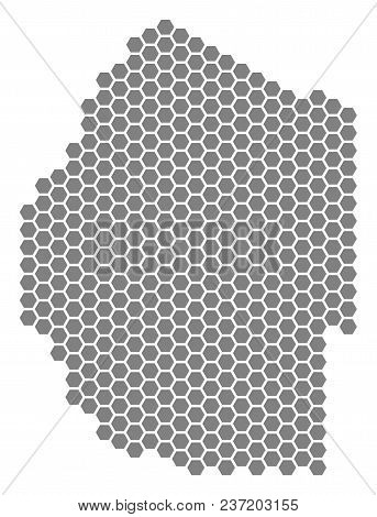 Gray Hexagon Swaziland Map. Vector Geographical Map In Grey Color On A White Background. Vector Coll