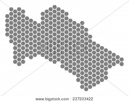 Gray Hexagon Turkmenistan Map. Vector Geographical Map In Grey Color On A White Background. Vector C