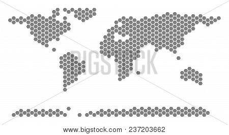 Grey Hexagonal World Continent Map. Vector Geographic Map In Grey Color On A White Background. Vecto