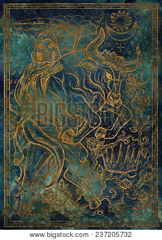 Golden Bull Symbol On Blue Texture Background. Ox With Death Skeleton, Crown And Mystic Signs. Fanta