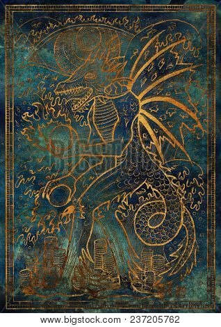 Golden Dragon Symbol On Blue Texture Background. Monster With Demon Wings, Waves, Fire Balls And Tre