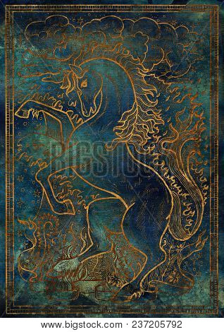 Golden Horse Symbol With Four Nature Elements, Fire, Air, Water And Earth Mystic Signs On Blue Textu