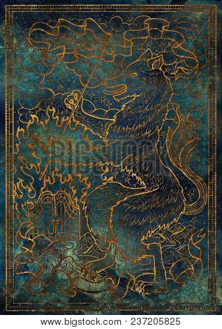 Golden Dog Symbol With Heraldic Decorations, Hell Gate And Vignette Ribbons On Blue Texture Backgrou