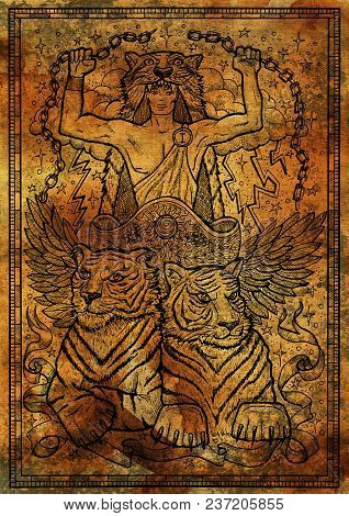 Tiger Symbol On Antique Texture Background. Chariot With Athletic Man, Tiger Beasts And Mystic Signs