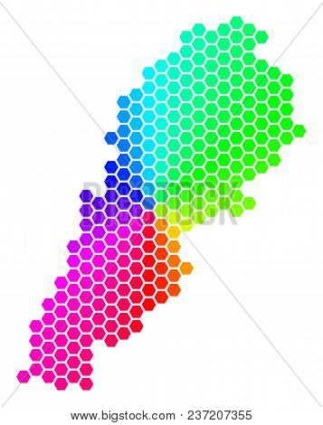 Spectrum Hexagon Lebanon Map. Vector Geographic Map In Rainbow Colors On A White Background. Spectru