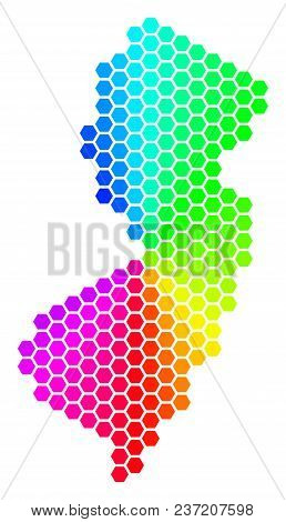 Hexagon Spectrum New Jersey State Map. Vector Geographic Map In Rainbow Colors On A White Background