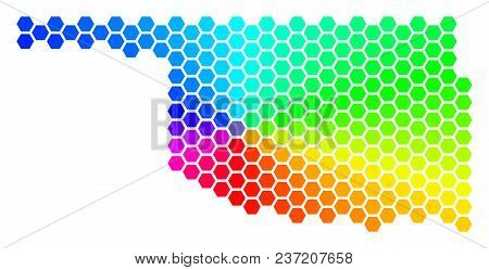 Hexagon Spectrum Oklahoma State Map. Vector Geographic Map In Bright Colors On A White Background. S