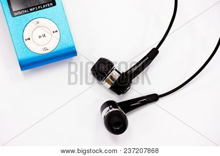 The Blue Music Player Mp3 And Earphones