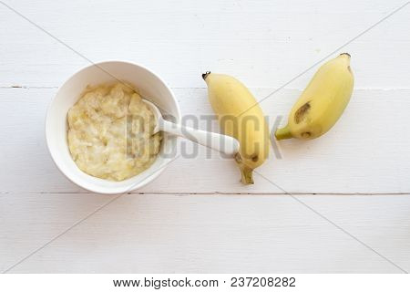 Mashed Banana Healthy Foods For Baby On Background White