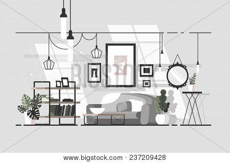 Cozy Living Room. Stylish Interior With Sofa. Vector Illustration