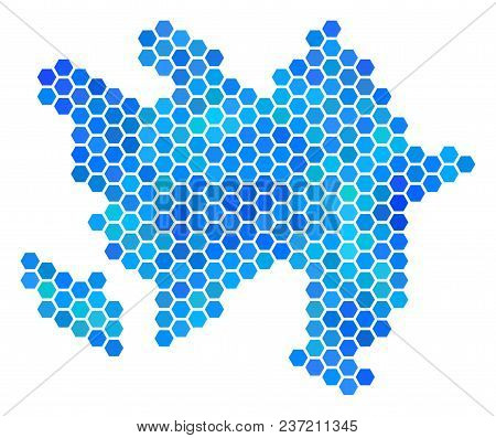 Blue Hexagon Azerbaijan Map. Vector Geographic Map In Blue Color Tones On A White Background. Blue V