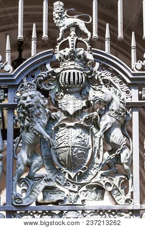Royal Coat Of Arms Of The United Kingdom On The Metal Gate, London, United Kingdom. It Is The Offici