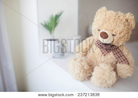 Soft Toy Bear In A Bright Bedroom. Background