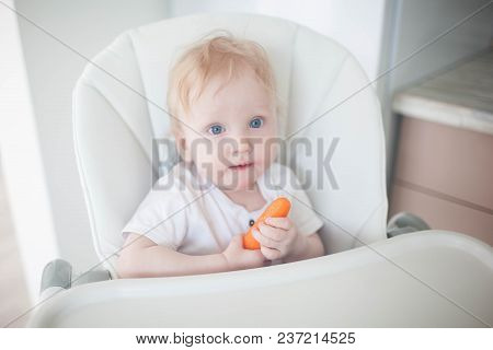The Baby Is Eating Carrots.