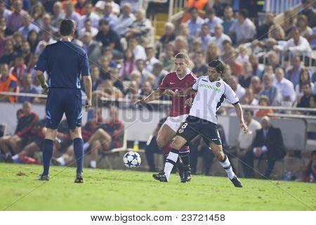 VALENCIA, SPAIN - SEPTEMBER 29, UEFA Champions League, Valencia C.F. vs Manchester United, Mestalla Stadium, #8 Dominguez, on September 29, 2010 in Valencia, Spain