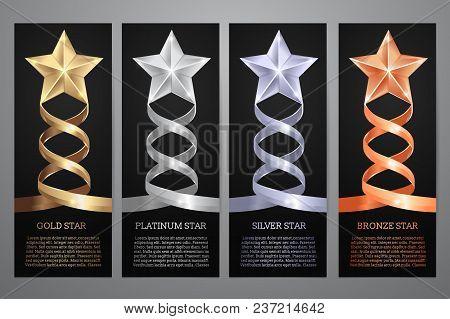 Set Of Black Banners, Gold, Platinum,silver And Bronze Star, Vector Illustration.l
