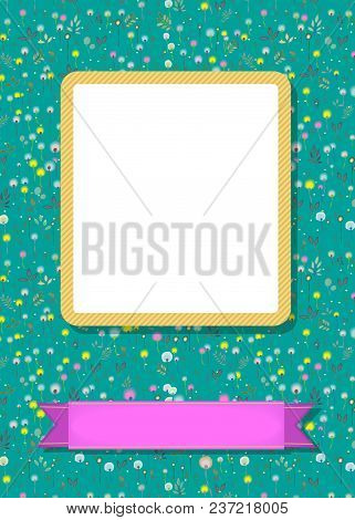 Floral Greeting Card. Graceful Blossoming Dandelions. Yellow Frame For Custom Photo. Purple Banner F