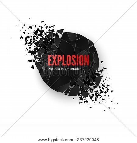 Banner Explosion  Simulation. Explode And Destruction. Circle Shatter Effect. Vector Illustration Is