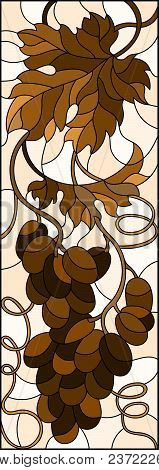 The Illustration In Stained Glass Style Painting With A Bunch Of Grapes And Leaves ,brown Tone, Sepi