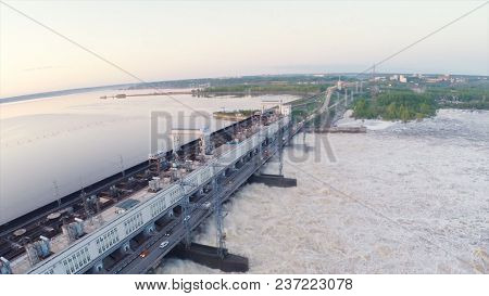 Hydroelectric Power Station By Top View Of Ridge's Dam. Clip. Top View Of The Big River At Hydroelec
