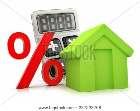 Calculator Percent And Abstract Home. 3d Illustration