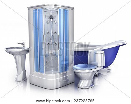 Sanitary Engineering 3d On White Background. 3d Illustration
