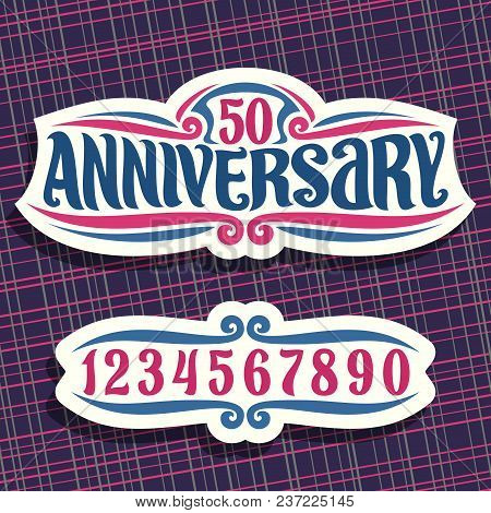 Vector Logo For Anniversary Event, Cut Paper Vintage Sign With 50th Number For Wedding Or Marriage,