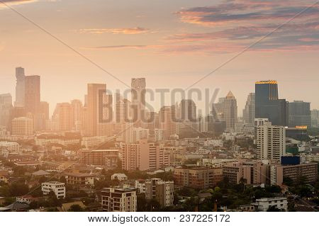 Sunset Tone Over Bangkok City Business Downtown, Thailand