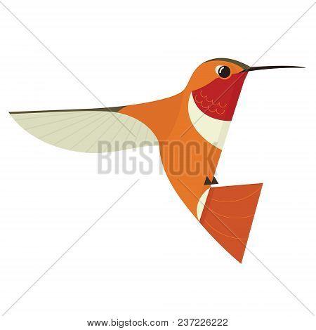 Humming Bird Icon Geometric Cartoon Flat Vector Illustration Stylized Animal Isolated Set